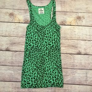 Victoria's Secret Pink green cheetah print tank s